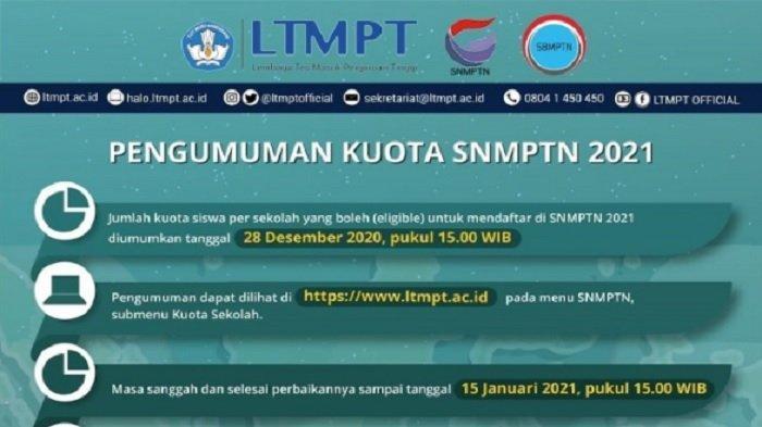 Cek Kuota SNMPTN 2021 Lewat www.ltmpt.ac.id, Berikut Persyaratan Sekolah dan Peserta