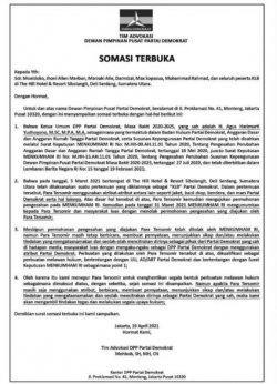 DPP Demokrat Layangkan Somasi Terbuka Kepada Moeldoko Cs